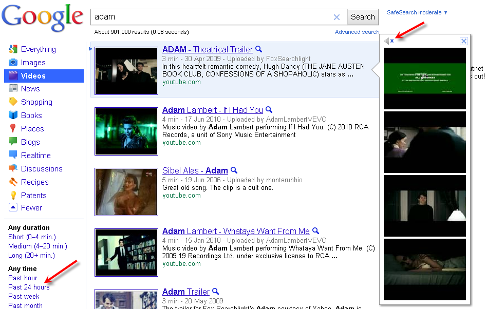 Bing Video search interface is still better than Google Video Search