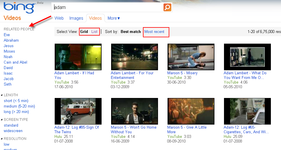 Bing Video search is still better than Google Video Search