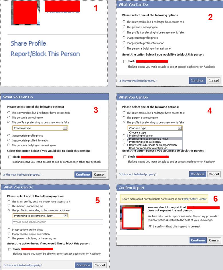 fake facebook profile report procedure