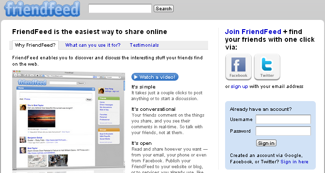 friendfeed - alternative Facebook from this complete list of Facebook like websites