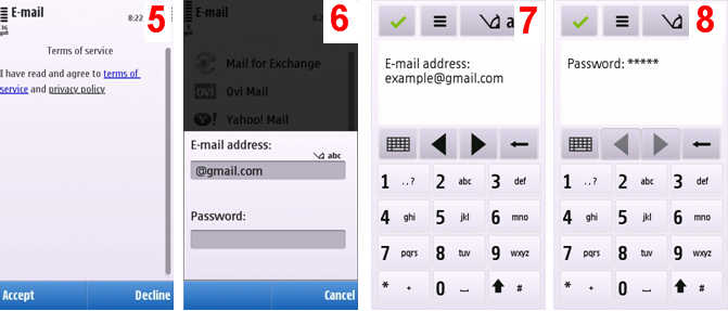how to setup email on symbian S60 mobiles like Nokia C6, Nokia C5, Nokia 5800, Nokia E71, Nokia n8, Nokia e5.