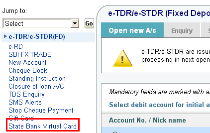 create and use SBI Virtual Credit Card
