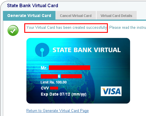 Get SBI Virtual Credit Card