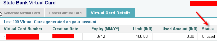 status of  SBI Virtual Credit Card
