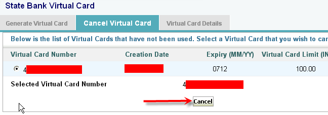 Cancel SBI Virtual Credit Card