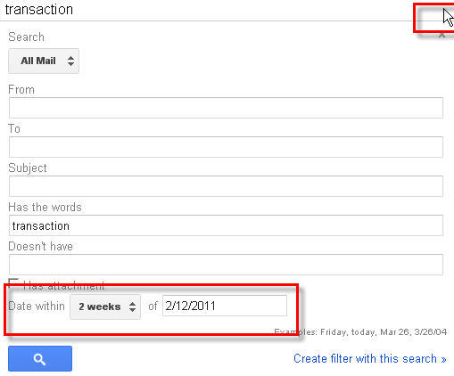 Search gmail messages using Date feature