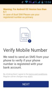 BHIM APP INSTALLATION verify sms